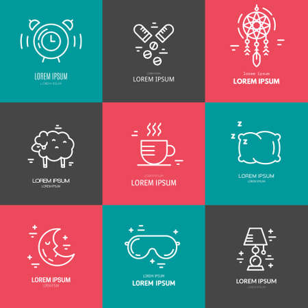 Collection of line vector icons with symbols of sleep problems and insomnia. Healthcare series. Illustration