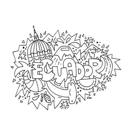 Ecuador concept for adult coloring book - hand drawn illustration, black outline.