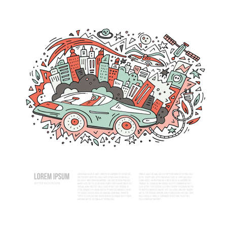 vector template with place for your text and auronomous car Ilustrace