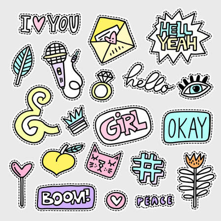Vector patch set - 80s-90s style design. Isolated illustrations - great for stickers, embroidery, badges. Çizim
