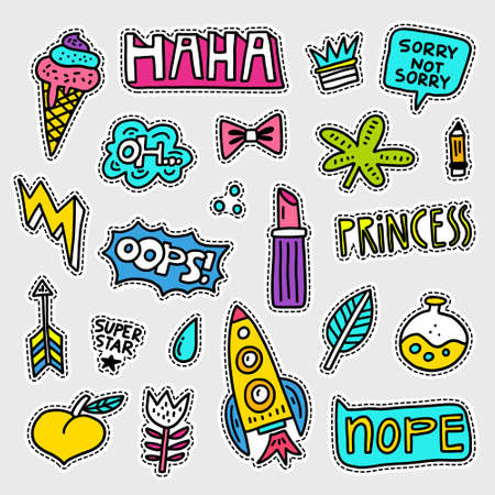 Vector patch set - 80s-90s style design. Isolated illustrations - great for stickers, embroidery, badges. 版權商用圖片 - 83982968