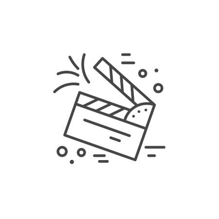 Linear illustration of clapper board. Vector line style icon.