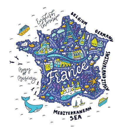 フランス - 漫画マップのマップ。