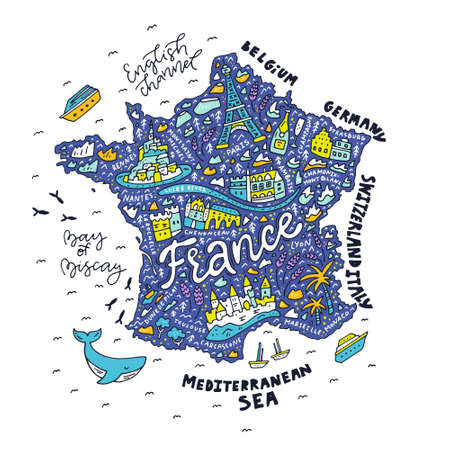 Map of France - cartoon map. Ilustracja