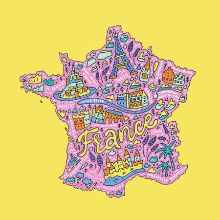 Vector illustration of the cartoon map of France with doodle symbols and lettering.