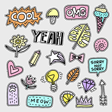 Vector patch set - 80s-90s style design. Isolated illustrations - great for stickers, embroidery, badges. Ilustração