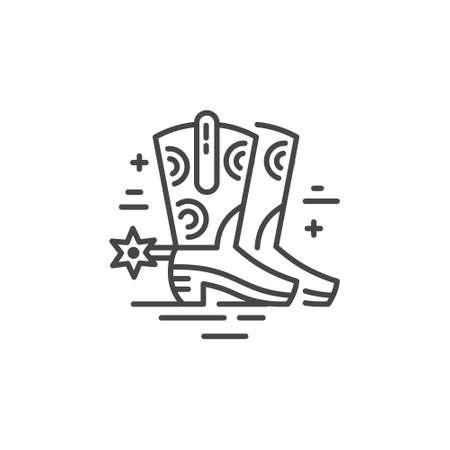 카우보이 부츠의 선형 그림입니다. 벡터 라인 스타일 아이콘입니다.