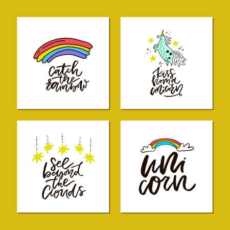 Collection of square cards with hand drawn lettering and cute unicorn themed symbols.