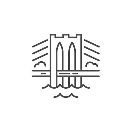 Linear illustration of a bridge. Vector line style icon. Ilustração