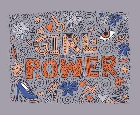 レタリングが付いて女の子力ベクトル図とフェミニンなオブジェクト