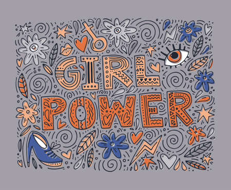 Girl Power Vector illustration with lettering and feminine objects Banco de Imagens - 85165956