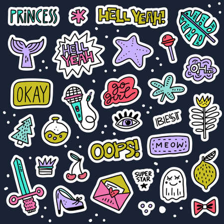 Set of colorful cartoon badges. Vector patch illustration - great for embroidery and fashion. Illustration