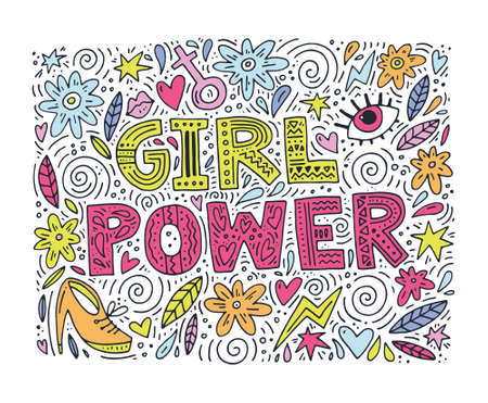 Girl Power Vector illustration with lettering and feminine objects