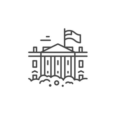 Linear illustration of a White House. Vector line style icon.