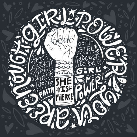 Girl power phrases and words with illustration of womans fist and hand. Feminist poster. Ilustração
