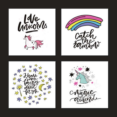 Hand drawn collection of cute cards with lettering and unicorns. Premade square card vector templates. Illustration
