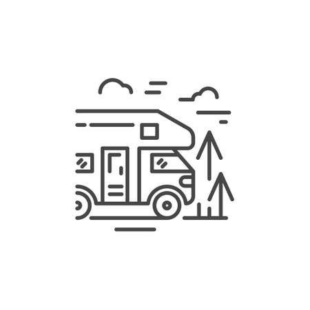 Linear illustration of a camper. Vector line style icon.