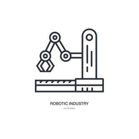 A ector linear style icon set with automated factory equipment. Industrial machines, automated production line. Illustration