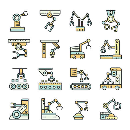 A Vector linear style icon set with automated factory equipment. Industrial machines, automated production line.