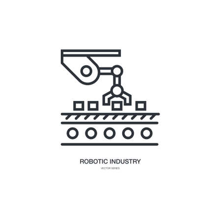 Linear style icon set with automated factory equipment.