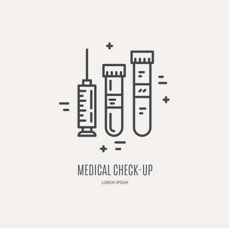 Syringe and lab tubes icon.
