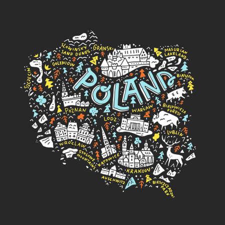 Carte de dessin animé de Pologne. Banque d'images - 88671437