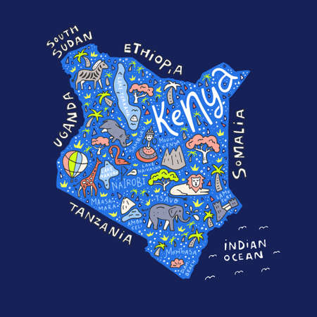 Kenya country map with the symbols and  lettering.