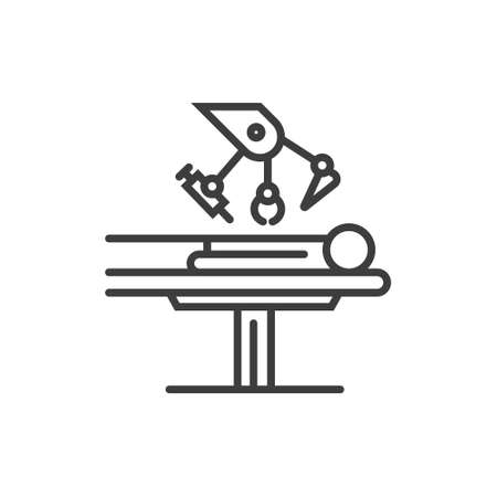 Modern line icon with modern surgery technologies equipment. Illustration