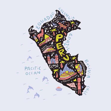 Cartoon map of Peru.