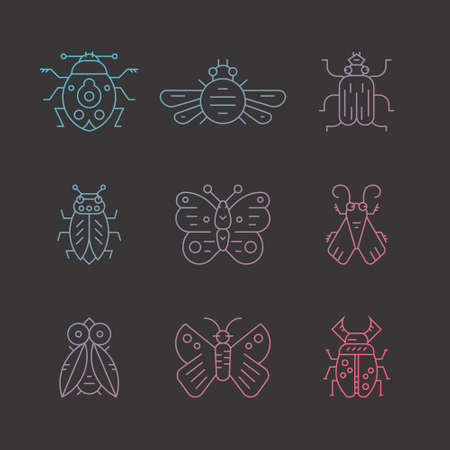 Collection of insects thin line icons. Illustration