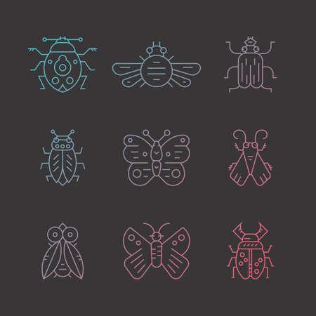 Verzameling van insecten dunne lijn pictogrammen.