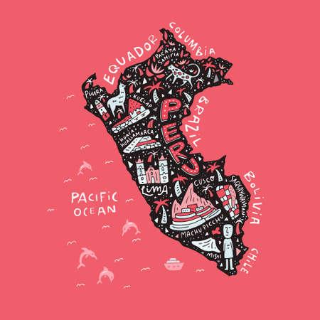 ペルーの漫画のマップ。 写真素材 - 88888621