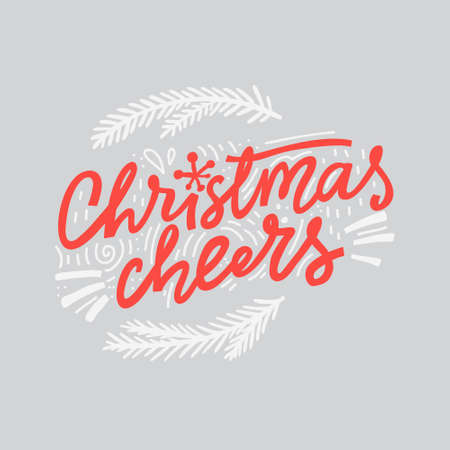 Christmas Cheers Lettering made in unique style. Handdrawn design for any use.