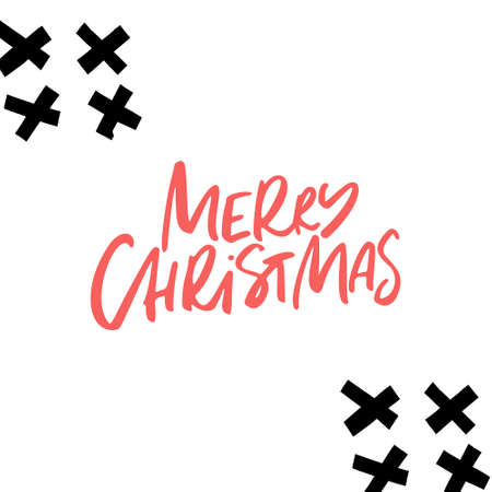 Merry Christmas - modern lettering with hand drawn design elements. Winter theme.