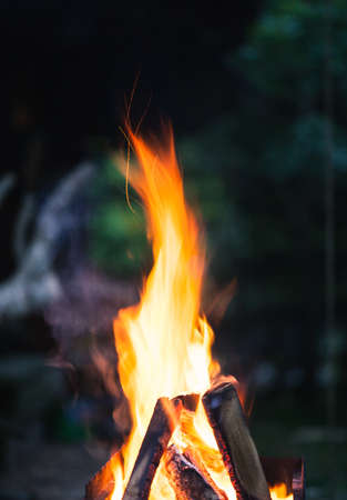 Abstract close-up photo of flames. Camp fire photo with shallow depth of field. Macro photo of fire. Stok Fotoğraf - 91678511