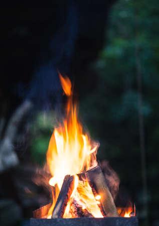 Abstracte close-upfoto van vlammen. Kampvuurfoto met ondiepe scherptediepte. Macrofoto van brand.