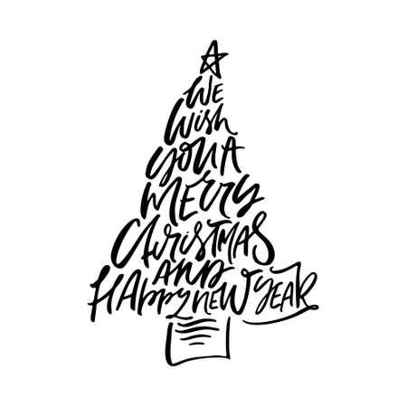 私たちはあなたのメリークリスマスと幸せな新年の書道のフレーズを願っています。クリスマスツリーの形で手書きのモダンなレタリング。