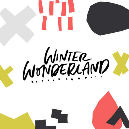 Winter Wonderland - modern lettering with hand drawn design elements. Christmas and New Year bundle.