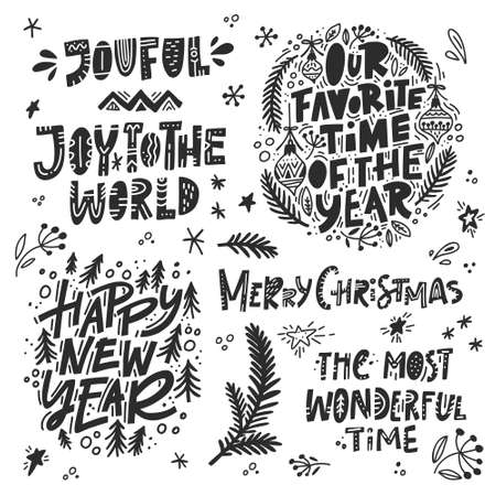 Vector set of Christmas and New Year calligraphy phrases. Handwritten modern lettering for cards, posters, t-shirts, etc.