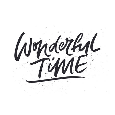 Wonderful Time - Christmas and New Year handwritten lettering. Winter collection. Ilustração