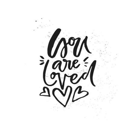 Sei amato. Citazione romantica per poster, tazza, t-shirt. Archivio Fotografico - 91548247