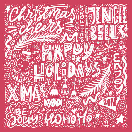 Complex Christmas lettering. Pre-made set of greeting cards made in unique style.