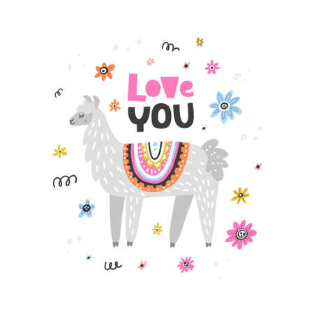 Lovable lama drawing made in vector. Unique hand drawn style. Good for greeting cards, romantic invitations, decoration, etc.