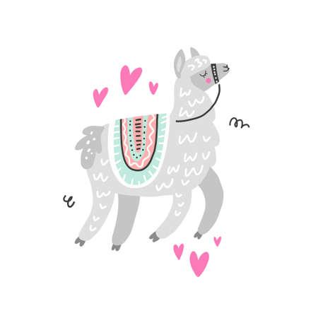 Lama dessin attrayant fait en vecteur. Style unique dessiné à la main. Bon pour les cartes de voeux, les invitations romantiques, la décoration, etc. Vecteurs
