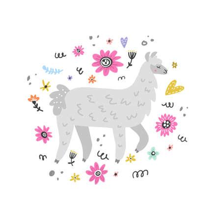 Illustration de l'été avec lama faite en vecteur. Dessin pour des impressions sur des t-shirts, des cartes de v?ux, etc. Banque d'images - 91699260