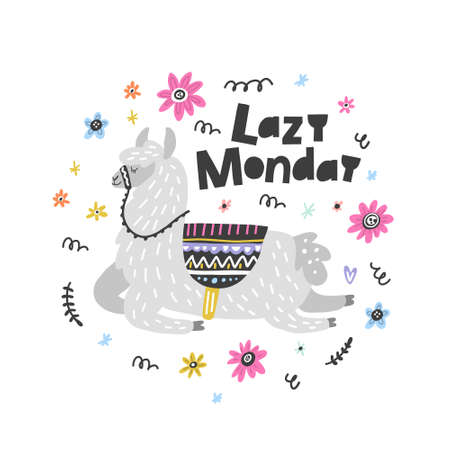Lazy Monday lama vector illustration. Drawing for prints on t-shirts and bags, stationary or poster. Vettoriali