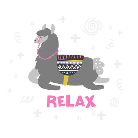 Lama is getting a relaxation. Handdrawn vector illustration for any use.