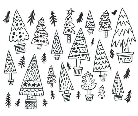 Set of handdrawn Christmas trees. Winter holiday design for cards, posters, t-shirts, etc. Çizim