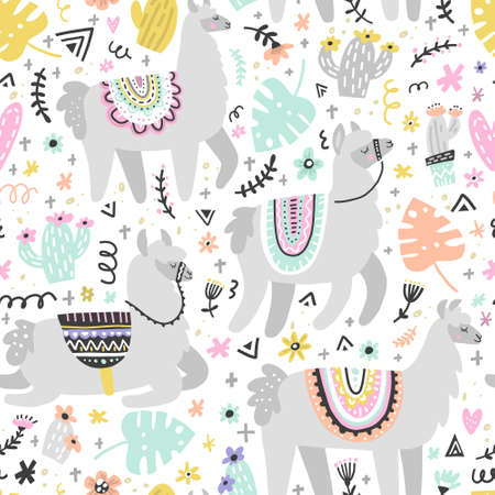 Seamless pattern with lamas made in vector. Modern hand drawn style. Good for wallpaper, greeting cards, children room decoration, etc. Ilustração