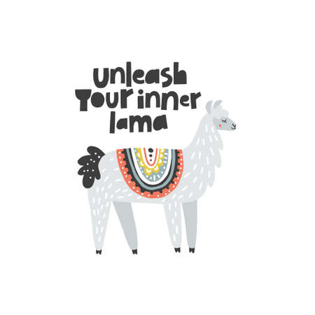Unleash Your Inner Lama - inspirational vector illustration of adorable lama with lettering. Ideal for poster cards, invitations, decoration, etc.